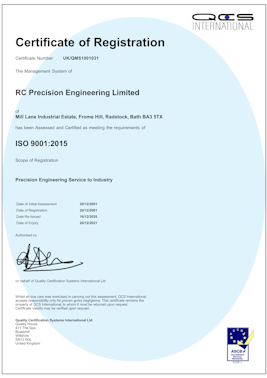 RC Precision Engineering Ltd is an ISO 9001:2008 Certified Company, Certificate No. C 1031 SW
